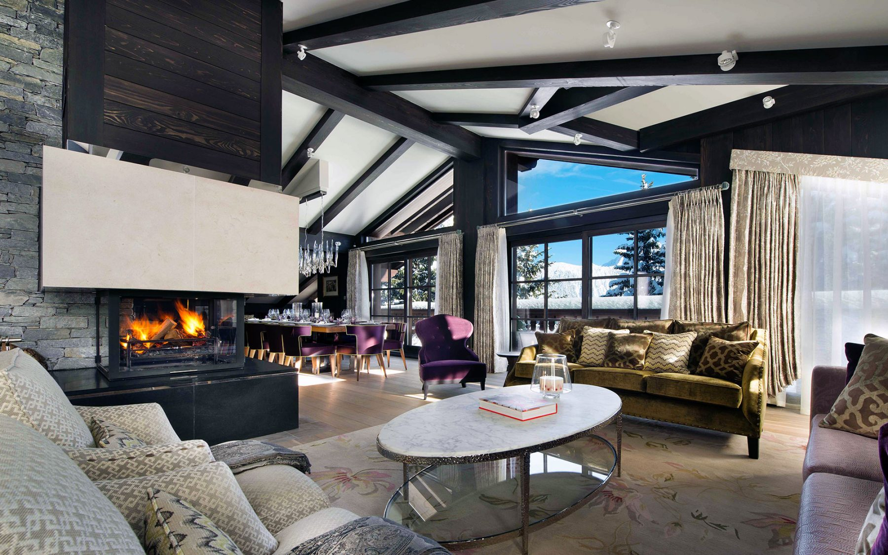 Chalet le coquelicot ski chalet interior design for Ski chalet home designs